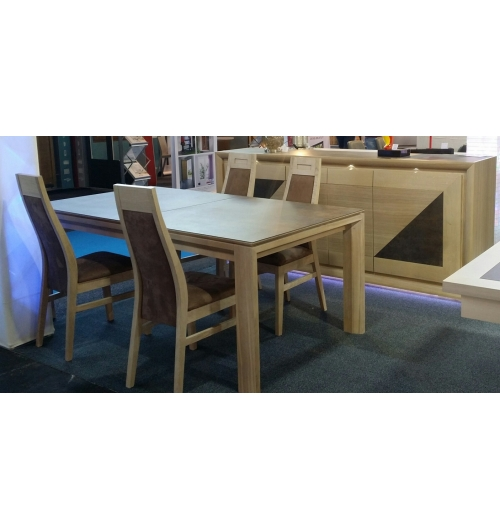 "COLLECTION ""ZOE"" - SALLE EN MANGER EN CHENE. TABLE TRES CONTEMPORAINE, EPUREE. AVEC PLATEAU FULL CERAMIQUE ET 2 ALLONGES PORTEFEUILLE EGALEMENT EN CERAMIQUE."