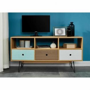 Meuble TV - <p>Meuble TV scandinave pieds en métal laqué noir décor chêne et impression vintage Dimensions : L 120 x P 35 x H 60 cm</p>