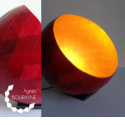 Lampe à poser or et rouge en papier recyclé