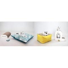 """Kit Chaton Homycat - A l'approche de la saison des naissances de chatons, il devenait évident de proposer une offre complète tout en un pour permettre aux nouveaux propriétaires de chats de s'équiper en un seul clic.  Homycat lance alors deux kits chat(ons) : le kit """"Je l'aime beaucoup"""" composé d'un griffoir personnalisable, d'un coussin XL et d'un jouet mini-coussin ; et le kit """"Je l'aime à la folie"""" avec une lettre griffoir au choix, un pouf cube ou berlingot S, et un jouet mini-berlingot.  POUR CHATONS MAIS PAS SEULEMENT...  Les packs contenant plusieurs produits pour chatons sont communément appelé Kit Chaton. Mais chez Homycat, les accessoires s'adaptent aux chats de toutes tailles. Chatons, petits, moyens et même grands chats peuvent en profiter !"""