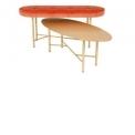 Banc en laiton et velours & Coffee Table en laiton  - <p>Gigognes. Parfait pour un petit salon, voici un ensemble chic et inattendu…</p>