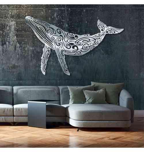 """Baleine à bosse - Création murale originale en métal inox brossé à la main. Cette décoration artistique est """" MADE IN FRANCE """" (entièrement réalisé dans le sud de la France)"""