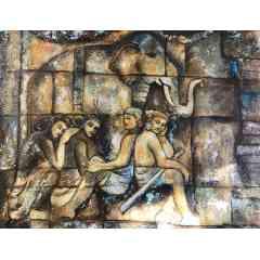 Tableau Fresque de Borobudur - Tableau sur toile de lin
