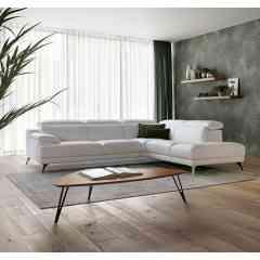 Canapé d'angle MERIBEL - De l'espace pour recevoir confortablement vos invités. Repose-tête relevable sur chaque dossier. Réalisable en uni ou bicolore, grand choix de coloris.