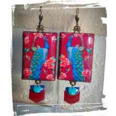 orientalisme - boucles d'oreilles motif paon