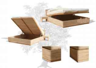Lit Box - Design synthétique et rationnel, un lit 'coffre' pratique pour le rangement. Un lit 'gain de place', caracterisé par des lignes pures et esthétiques qui rélève le charme de l'hêtre massif lamellé. Le sommier à lattes en bois se soulève grâce à un système de pistons pneumatiques.