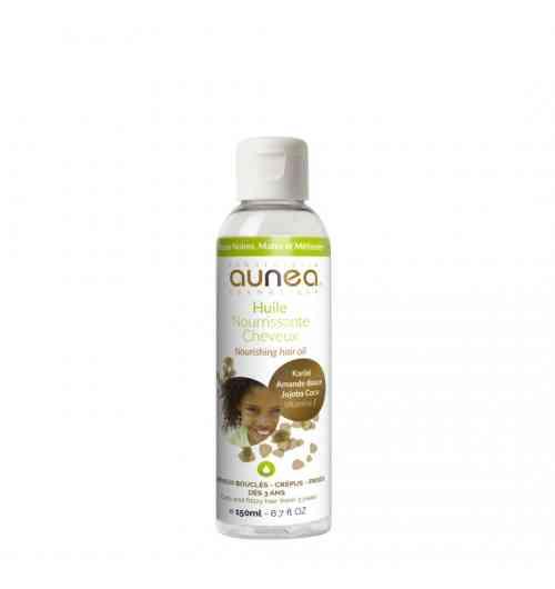 AUNEA HUILE NOURRISSANTE CHEVEUX 150ML - L'huile nourrissante du Laboratoire Aunéa cosmétique est une combinaison d'huiles végétales 100 % naturelles. Ce soin nourrissant est particulièrement adapté aux cheveux frisés et crépus, les cheveux secs, ternes et abîmés. Cette synergie d'huiles végétales d'amande douce, de coco, de jojoba et de beurre de karité, va nourrir en profondeur les cheveux, tout en les rendant doux, souples, brillants et soyeux.