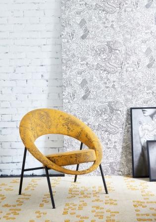 44 SATURNE - <p>Le fauteuil 44 Saturne, présenté à Paris en 1957 lors du salon des Arts Ménagers, possède<br />un design unique par sa forme et son originalité. Ce modèle aux formes géométriques<br />épurées est né de l'alliance des techniques maîtrisées par BUROV et de l'inspiration du<br />couple de designers. Pour l'édition spéciale 2017, le fauteuil se pare du tissu Komodo,<br />dessiné par Jean-Paul Gaultier et édité par Lelièvre.</p>