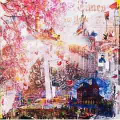 Cerisier à NYC - Technique mixte sur toile - Oeuvre originale, Pièce unique