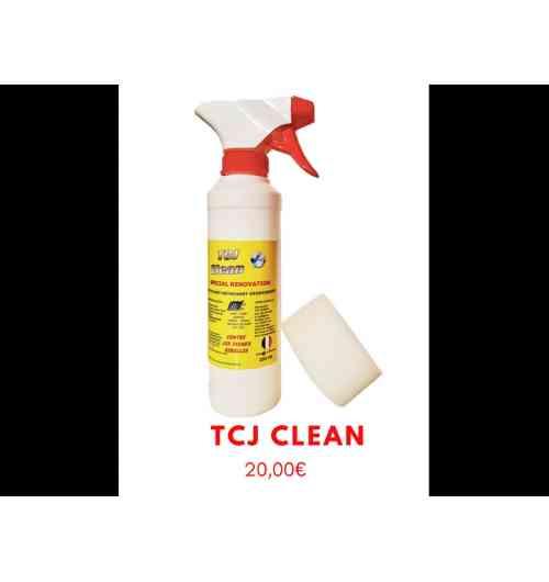 TCJ Clean - <p>Le TCJ Clean est un nettoyant, détachant, dégraissant.</p> <p>Il s'applique sur tous les supports à nettoyer tels que le cuir, daim, nubuck, similis, tissus, textiles... il peut aussi aider à détacher le plastique pvc, le bois, etc...</p> <p>Très pratique pour nettoyer rapidement les baskets type adidas, converses...</p>