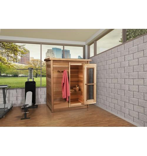 Sauna Intérieur - La pratique du sauna remonte à près de 2000 ans. Un moment de pause où l'on se détend. On se relax, on prend le temps de revenir aux sources, d'écouter son corps, de lui faire du bien et de proter des bienfaits du sauna sur notre santé. Enfin on prend du temps pour soi ! La sauna en bois en bois est un écrin chaleureux qui peut monter entre 70°C et 100°C.C'est une expérience authentique, seul, en couple, en famille, entre amis.  La chaleur du sauna et les passages du chaud et au froid procurent des bienfaits pour l'organisme.  Le sauna à une action relaxante, épurante, musculaire, défense immunitaire en aidant à :  • diminuer la pression sanguine. • augmenter la température du corps et ainsi améliore la circulation sanguine. • la forte transpiration provoquée permet l'élimination des toxines accumulées dans notre corps. • la diminution du stress et de la tension/l'hypertension, grâce à la chaleur le corps libère des endorphines qui détendent.  • ces endorphines favorisent un meilleur sommeil. • la stimulation du système immunitaire. • soulager les rhumatismes et les douleurs musculaires et articulaires. • au bon fonctionnement du système cardio-vasculaire. • la beauté de la peau (évacue les toxines, l'assouplie et améliore son élasticité.  Nous présentons différentes formes de saunas, extérieur et intérieur. Ils sont fabriqués en bois Red Cedar (Cèdre Rouge).