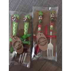 Couverts enfants - Cuillère+fourchette enfants recouverts de pâte polymère