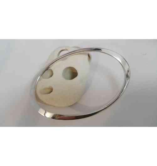 JONC ONDULATION - bracelet en argent  de forme ovale