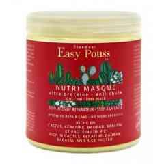 Nutri Masque - Le Nutri-Masque de EASY POUSS est un traitement capillaire reconstructif et réparateur intense. C'est un soin à base de protéines revitalisantes en profondeur, il redonne force et brillance aux cheveux crépus, frisés, cassants ou traitées chimiquement. Ce traitement profond comble les brèches dans la cuticule pour renforcer les cheveux et éviter la casse. Nourrie et préservée de la déshydratation, la chevelure retrouve souplesse, résistance et éclat. Il contient des actifs favorisant la pousse des cheveux et stop la chute.