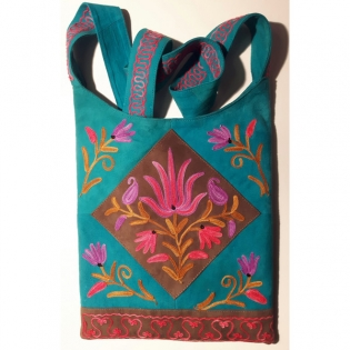 Leather suede bags with handmade embroidery