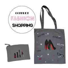 Coffret Fashion Shopping - Trousse et tote bag pailletés personnalisables