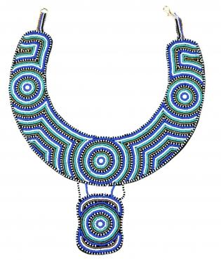 Collier Turquoise Fashion - <p>Une autre pièce unique de créateur : Perles Masaii cousues sur cuir</p>