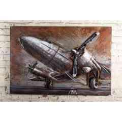 Plaque Métal Avion sur le Tarmac - Plaque métal décorative représentant un avion bi moteur posé sur le Tarmac
