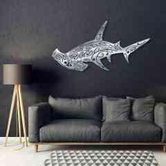 """requin marteau - Création murale originale en métal inox brossé à la main (INDOOR). Cette décoration artistique est """" MADE IN FRANCE """" (entièrement réalisé dans le sud de la France)"""