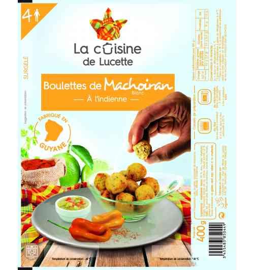 BOULETTE DE MACHOIRAN BLANC A L'INDIENNE - Boulette de poisson cuite, surgelée, composée de Machoiran blanc, relevée à l'indienne, sans colorant et sans conservateur.