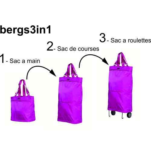 bergs3in1 - un sac multifonctionnel qui grâce à ses deux fermetures éclair se transforme instantanément d'un sac à main type cabas en un sac de plus grand format ou encore en un chariot de course.
