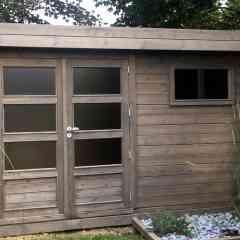 CONTEMPORAIN - Abri de jardin en madriers massif 28 mm d'épaisseur en Pin Sylvestre Autoclave classe IV