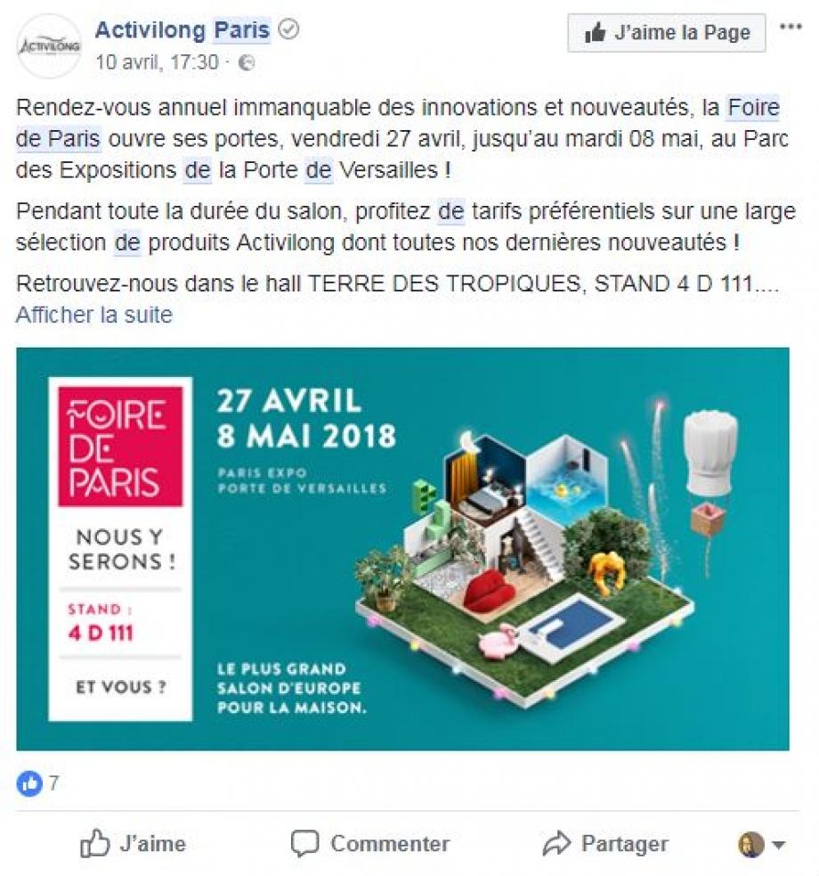 Annonce Foire de Paris Facebook