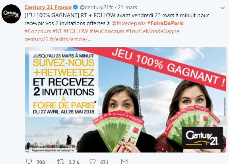 Jeux concours Foire de Paris Twitter