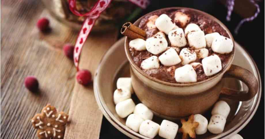 tasse de chocolat chaud avec des marshmallow