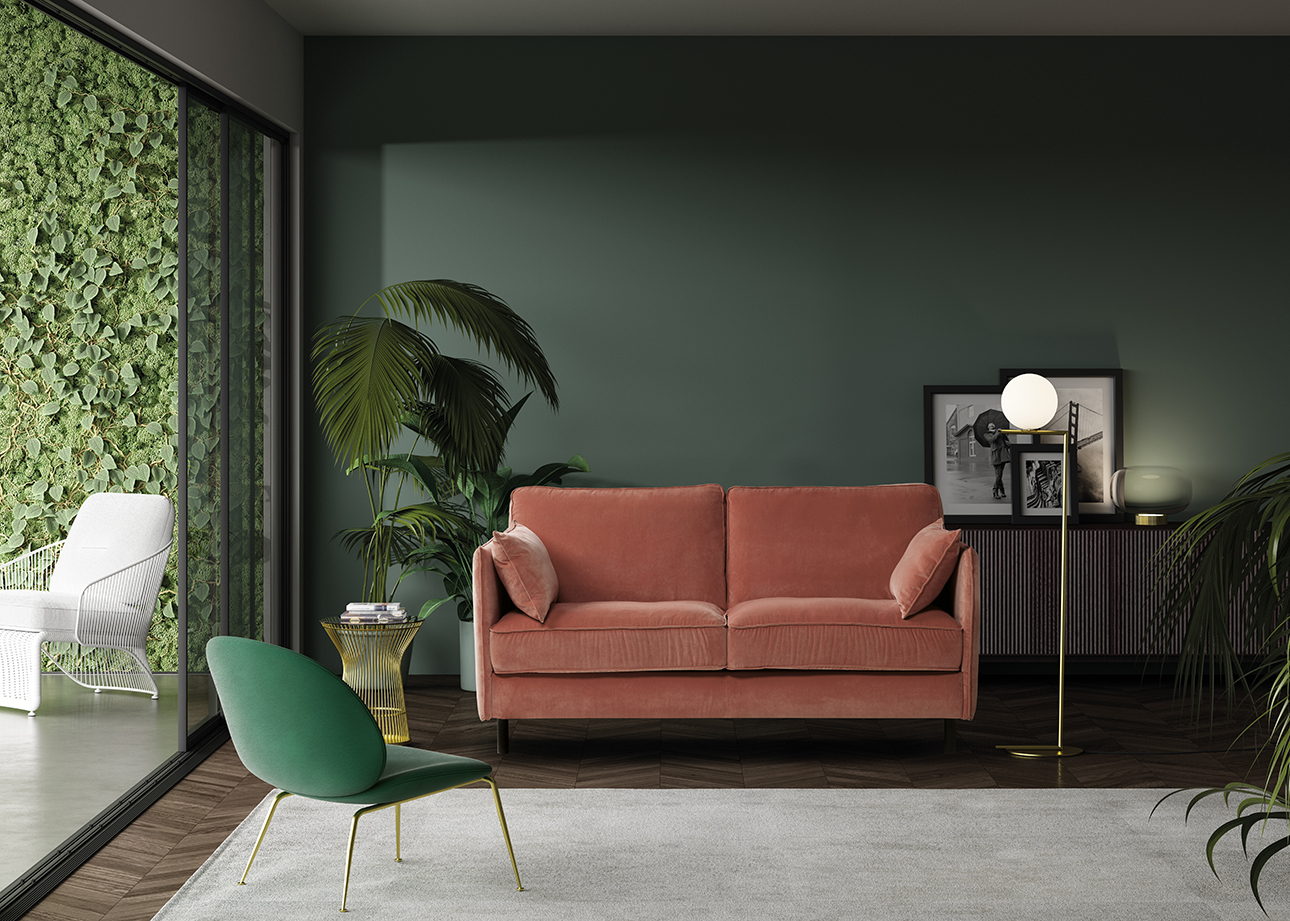 Canapé tendance couleur cuivre et fauteuil vert