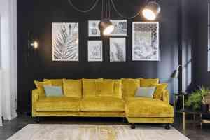 Canapé jaune CHELSEA dessiné par Convertible Contemporain