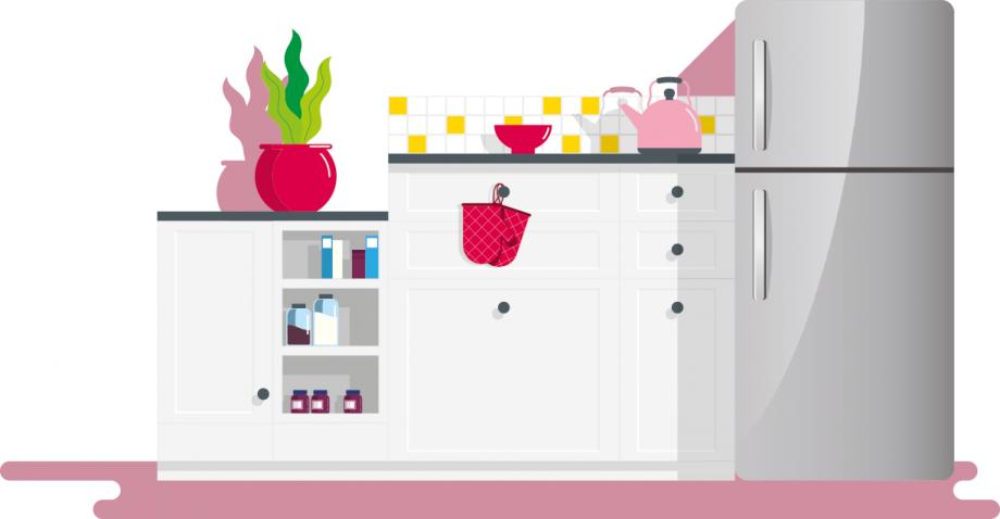Illustration avec un réfrigérateur