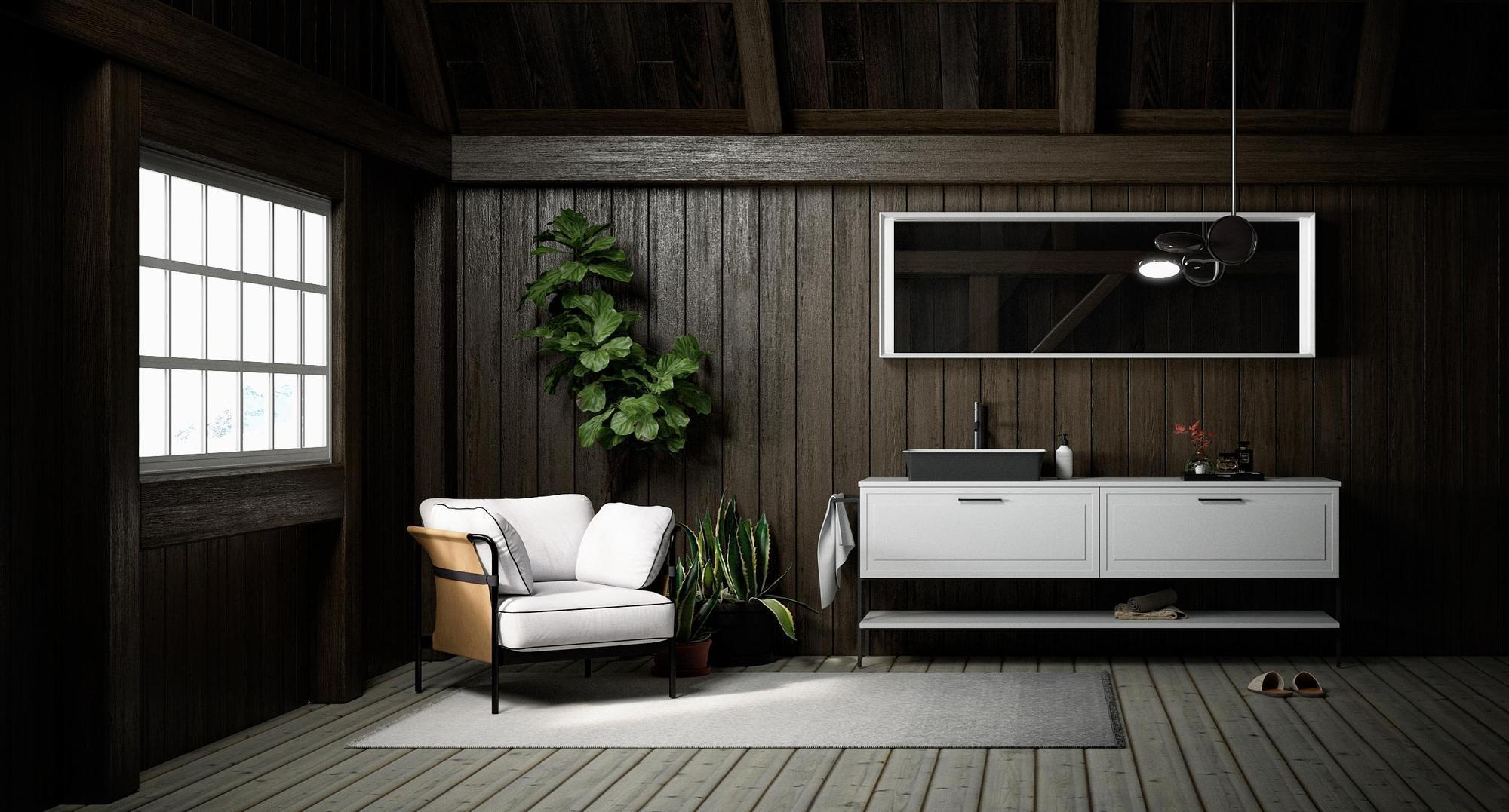 Salle de bain avec mur en bois, plantes vertes et rengements tendances et épurés.