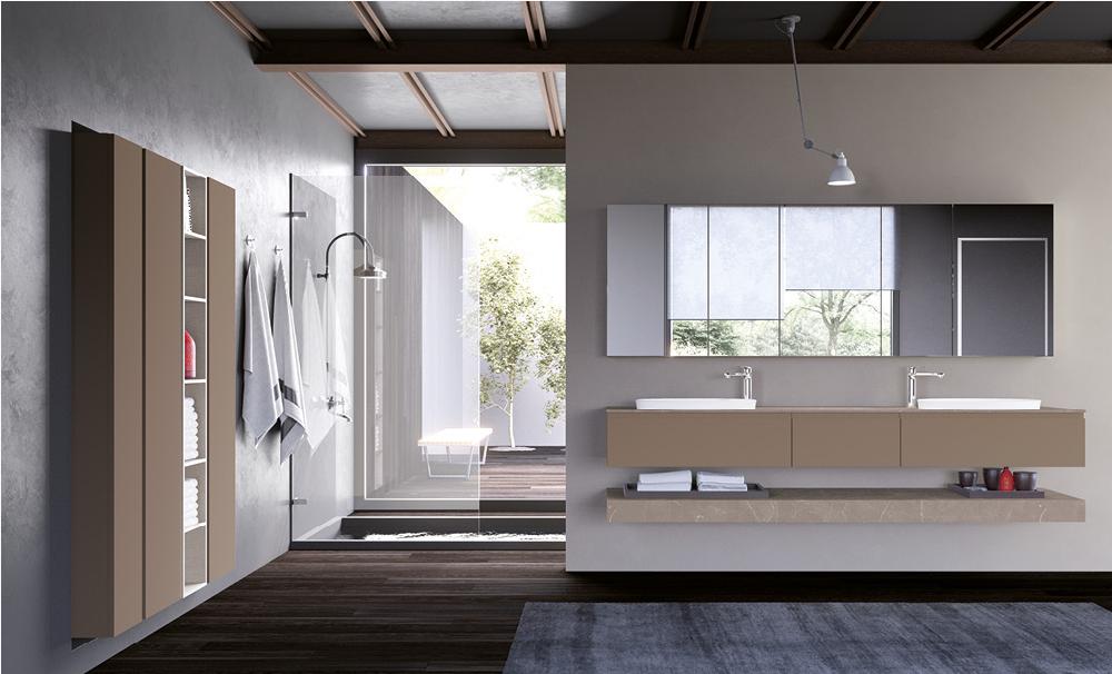 Salle de bain tendance aux couleurs beiges et marrons, douche à l'italienne