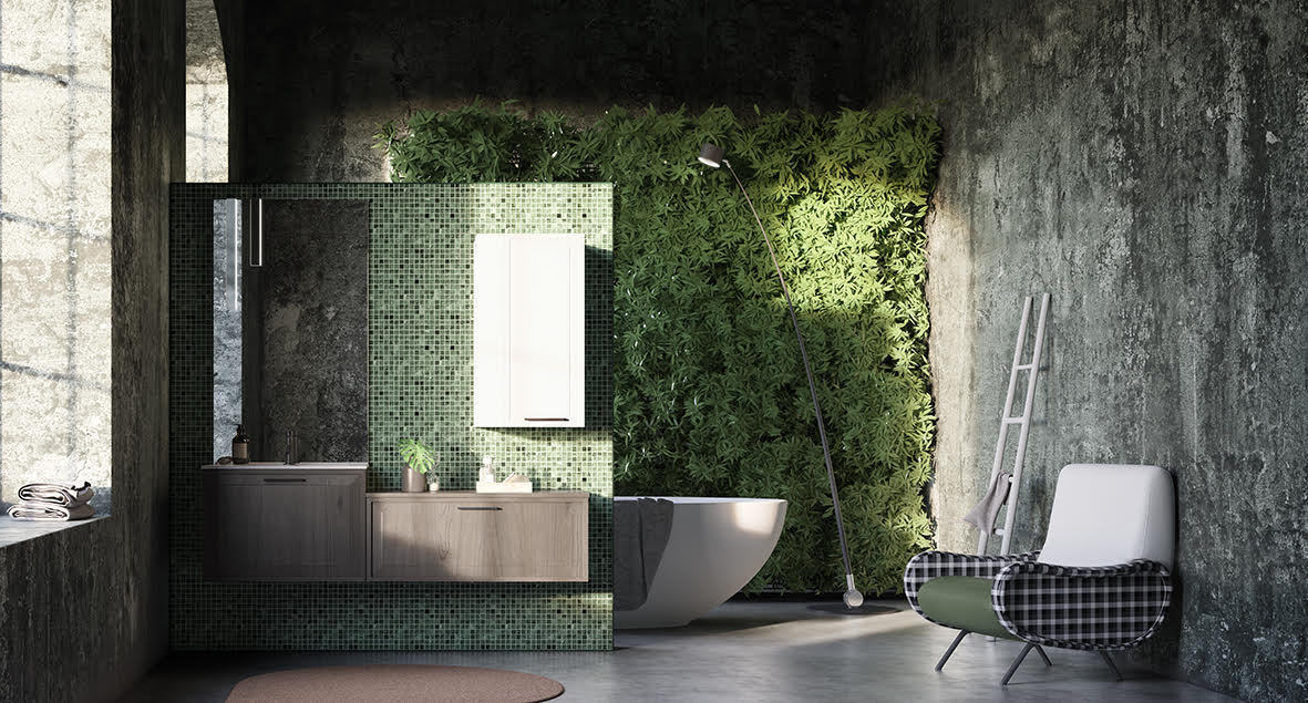 Salle de bain tendance aux tons verts, mur végétal et rangements aux couleurs naturelles